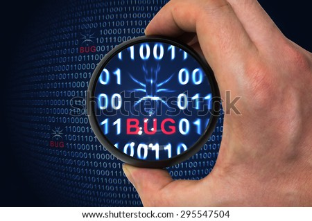 Debugging binary code with bug inside magnifying glass - stock photo