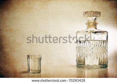 decanter and shot - stock photo