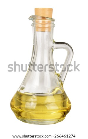 Decanter with oil isolated on white background. With clipping path