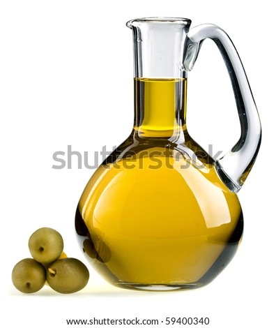 decanter with olive oil isolated on white background - stock photo