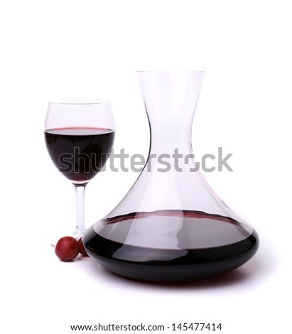 decanter with red wine and glass - stock photo