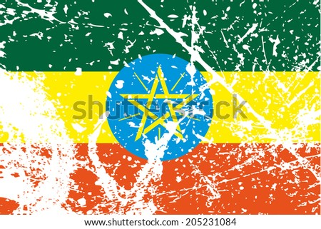 Decayed flag of Ethiopia - stock photo