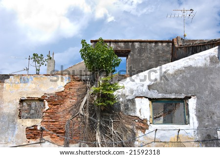 decayed walls - stock photo
