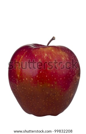 Decaying Red Delicious apple isolated on a white background. - stock photo