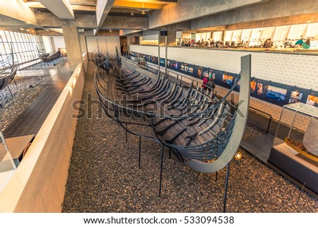 December 04, 2016: A viking longship inside the Viking Ship Museum of Roskilde, Denmark