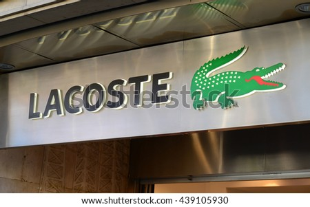 "DECEMBER 31, 2014 - BARCELONA: The logo of the brand ""Lacoste"""