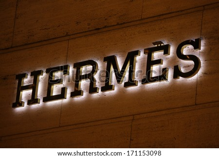 "DECEMBER 2013 - BERLIN: logo of the brand ""Hermes"", Berlin."