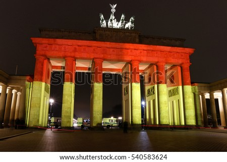 "DECEMBER 20, 2016 - BERLIN: the ""Brandenburger Tor"" (Brandenburg Gate) has been illuminated in the German national colours after the terror attack on the christmas holiday market a day before."