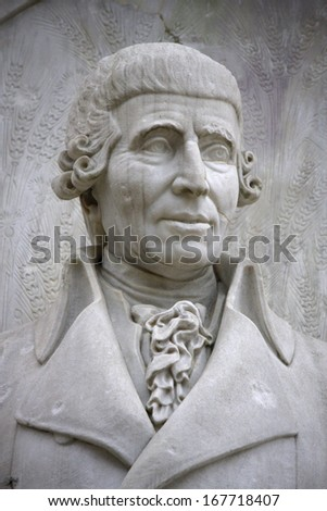 "DECEMBER 2013 - BERLIN: the bust of Joseph Haydn at the conductors monument (""Komponistendenkmal"") in the Tiergarten park of Berlin."