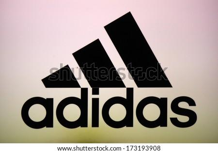 "DECEMBER 2013 - BERLIN: the logo of the brand ""Adidas"", Berlin."