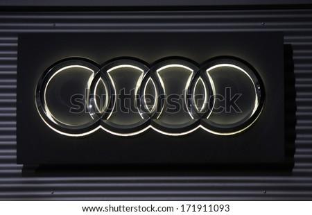 "DECEMBER 2013 - BERLIN: the logo of the brand ""Audi"", Berlin."