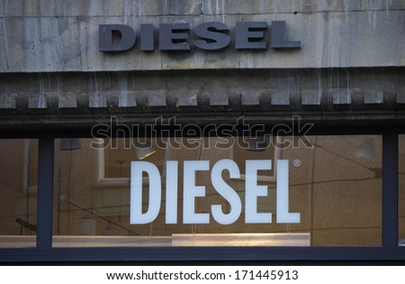 "DECEMBER 2013 - BERLIN: the logo of the brand ""Diesel"", Berlin."