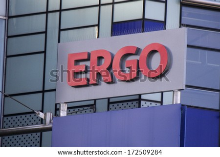 "DECEMBER 2013 - BERLIN: the logo of the brand ""Ergo"", Berlin."