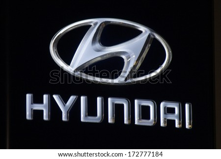 "DECEMBER 2013 - BERLIN: the logo of the brand ""Hyundai"", Berlin."