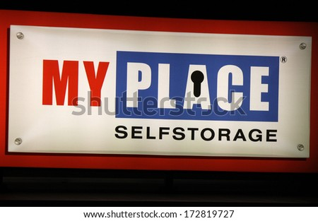 "DECEMBER 2013 - BERLIN: the logo of the brand ""My Place Self storage"", Berlin."