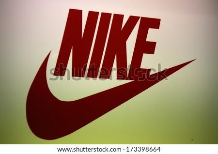 "DECEMBER 2013 - BERLIN: the logo of the brand ""Nike"", Berlin."