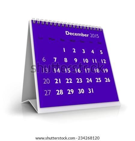 December 2015 Calendar - stock photo