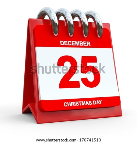 December 25 Calendar. Christmas Day - stock photo