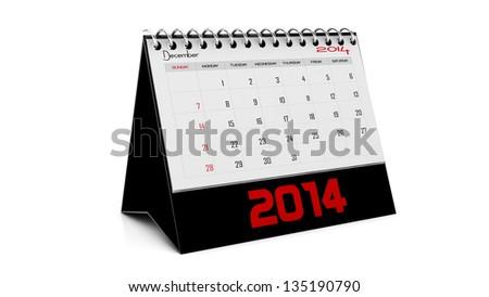 December    2014 Calendar in english in 3d - stock photo