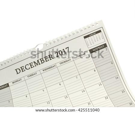 December 2017 Calendar January 2018 isolated on white background - stock photo