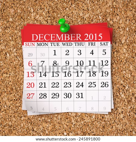 December 2015  Calendar on cork board , 3d render - stock photo