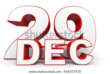 December 29. 3d text on white background. Illustration.
