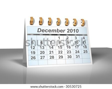 December 2010 Desktop Calendar (3D). - stock photo