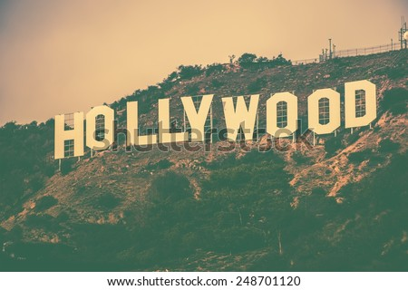 December 2014. Famous Hollywood Hills in Los Angeles Metro Area, California, United States. Hollywood Sign in Vintage Color Grading. - stock photo