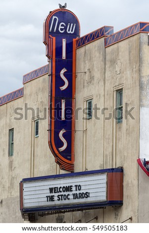December 25, 2015 Fort Worth, Texas: the facade of the abandoned historical New Isis cinema building at the Stockyards