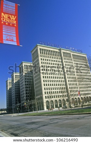DECEMBER 2004 - General Motors Headquarters in downtown Detroit, MI - stock photo