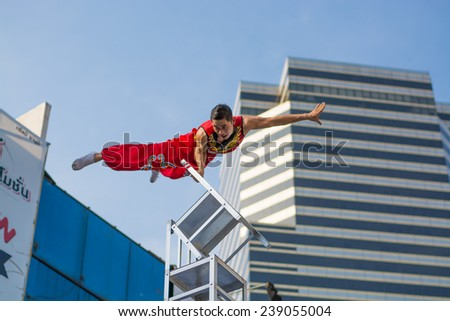 December 20, 2014 in Bangkok.People show gymnastics street performers at Siam street fest 2014 ,