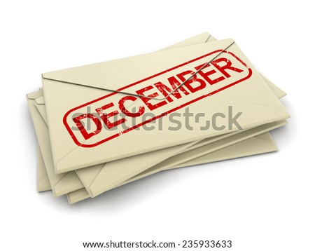 december letters  (clipping path included)