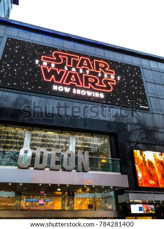 DECEMBER 2017 - LONDON, UNITED KINGDOM: Star Wars The Last Jedi at the Odeon Leicester Square, London.