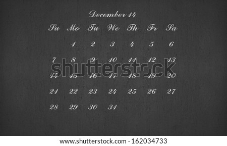 December month 2014 on blackboard for your planner
