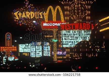 DECEMBER 2004 - Neon lights at night, Las Vegas, NV - stock photo