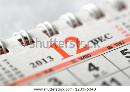 December of 2013 calendar - stock photo