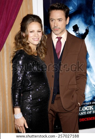 "December 6, 2011. Robert Downey Jr. and Susan Downey at the Los Angeles premiere of ""Sherlock Holmes: A Game Of Shadows"" held at the Regency Village Theatre, Los Angeles."