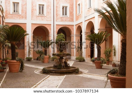 December 26, 2017. Rome Italy. Patio of the Church of Saints Luca and Martina.