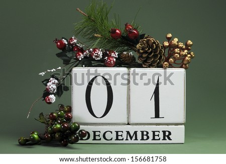 December 1: Save the Date calendar with Winter theme colors, fruit and flowers, for birthdays, special occasions, holidays, weddings, website events, or Christmas Advent calendar days. - stock photo