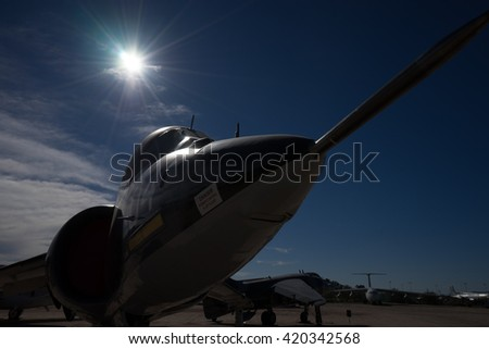 December 7, 2016 Tucson, USA: a fighter backlit by the sun on display at PIMA space and air museum