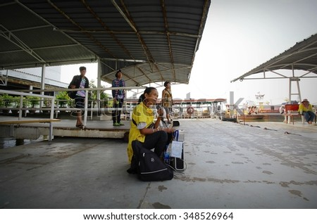 December 5, 2015 : Visually impaired artists sing exchange at ferry piers . Prapadaeng Samut Prakan, Thailand.