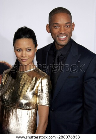 """December 7, 2006. Will Smith and Thandie Newton attend the Los Angeles Premiere of """"The Pursuit of Happyness"""" held at the Mann Village Theater in Westwood, California United States.  - stock photo"""