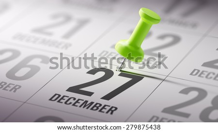 December 27 written on a calendar to remind you an important appointment.