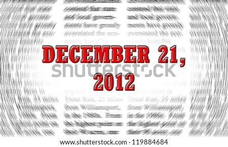 december 21, 2012 (written on a newspaper background) - stock photo