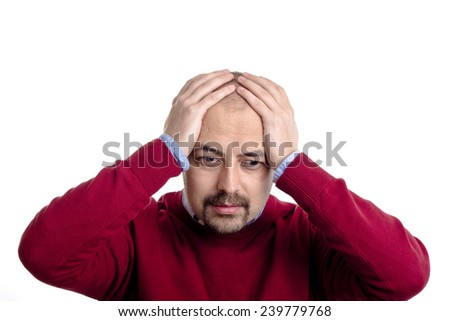 Decent guy is very sad he lost all his money on the stock market. - stock photo