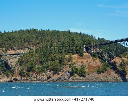 Deception Pass Bridge on Whidbey Island Washington USA - stock photo