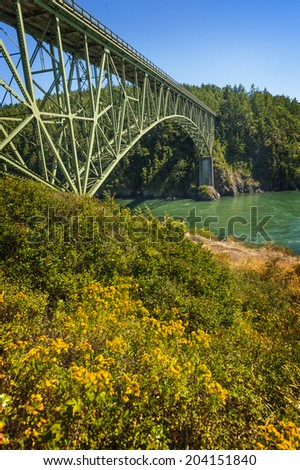 Deception Pass State Park, Washington. The Deception Pass Bridge is a two-lane bridge on Washington State Route 20 connecting Whidbey Island to Fidalgo Island in the U.S. state of Washington. - stock photo