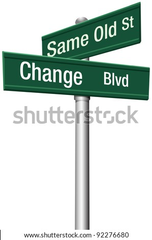 Decide to go the same old way to change and choose a new path and direction - stock photo