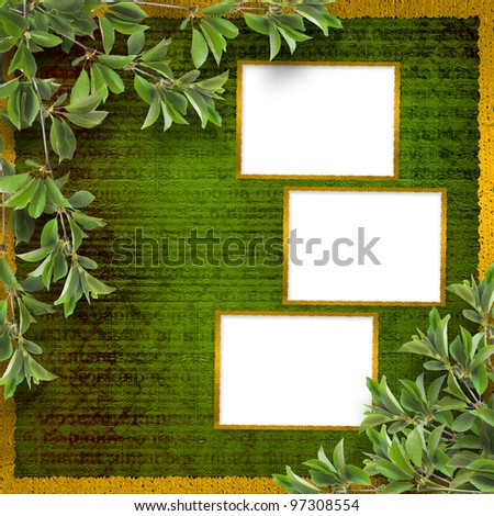 Deciduous tree branch on the background of abstract green wall - stock photo