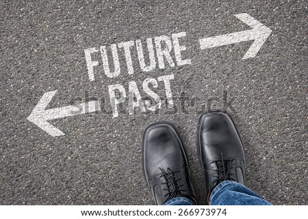 Decision at a crossroad - Future or Past - stock photo